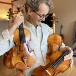 Luiz Amorim and 3 of his new making violins.